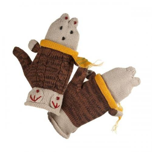 Youth gloves with teddy bear