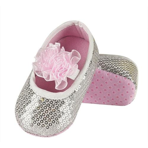 Baby's slippers with bow and sequins
