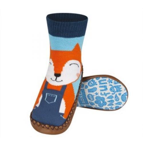 Детски чорапи с кожена подметка Лисица
