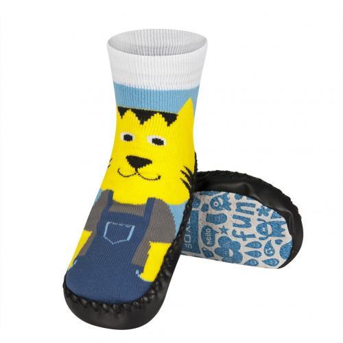 Детски чорапи с кожена подметка Коте