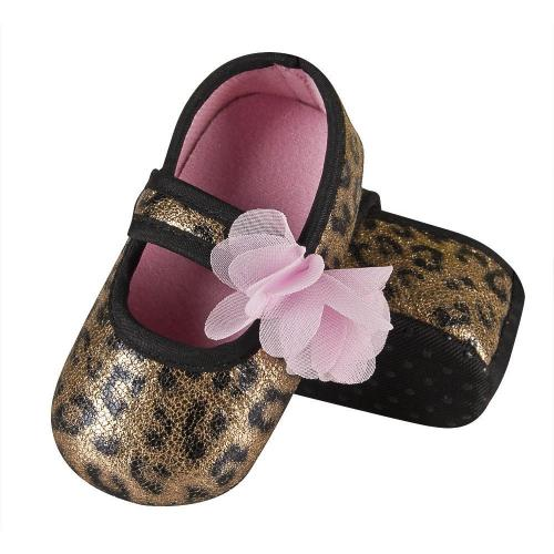Baby's slippers with bow and leopard print
