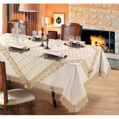 Luxury tablecloth for round table Ø 190 Viviana