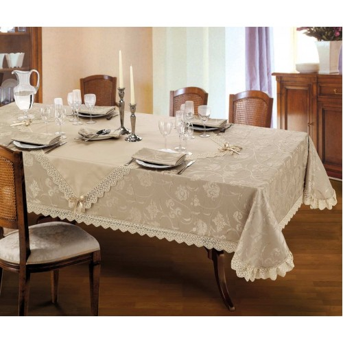 Luxury tablecloth for round table Ø 190 Grazia