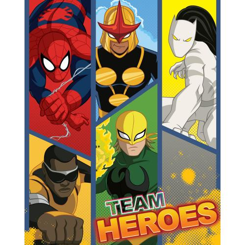 Kids fleece blanket Spiderman and Heroes
